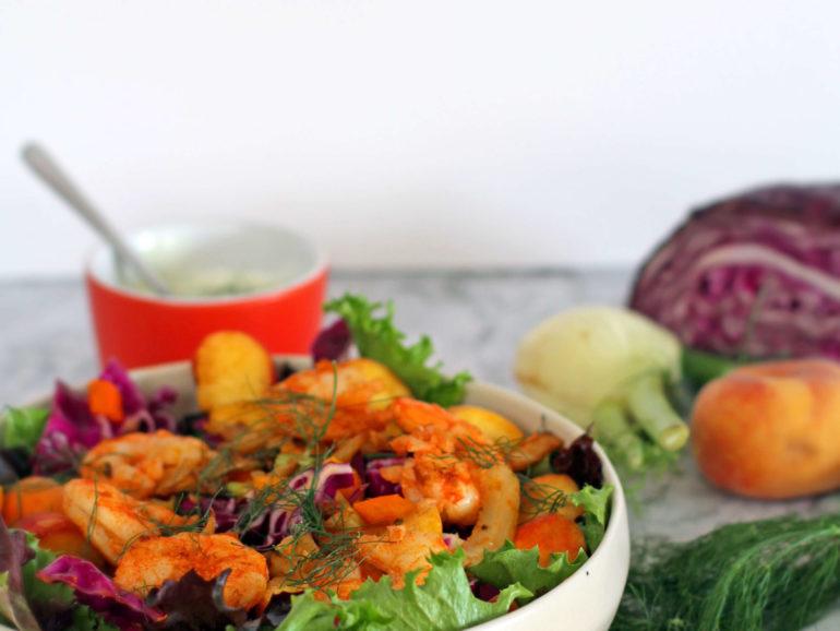 Salada de camarão e funcho