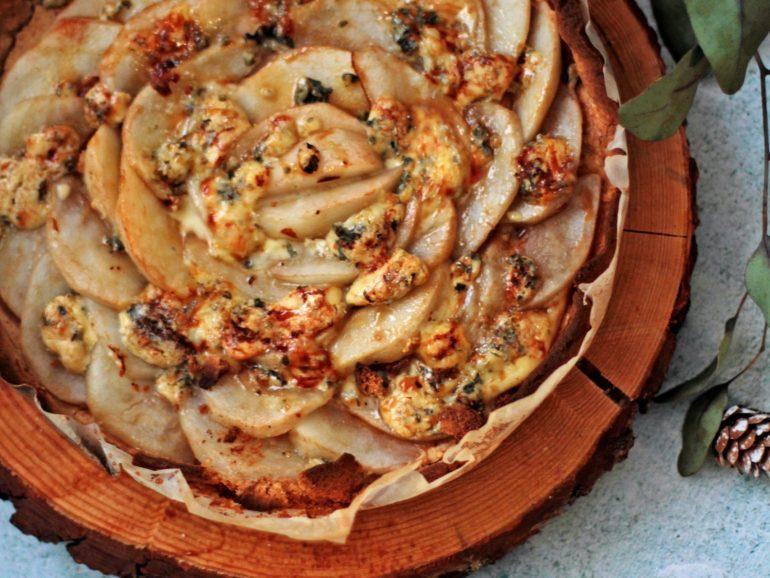 Tarte de pêra e gorgonzola